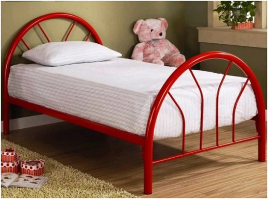 464956-(b) red metal twin 3 piece bed