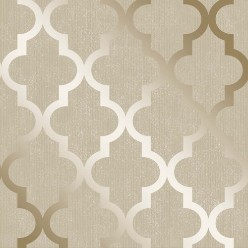 Henderson Interiors Camden Trellis Wallpaper Cream Gold