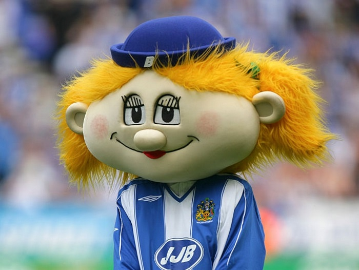 Bea one of the Wigan Athletic mascots (Photo by AMA/Corbis via Getty Images)